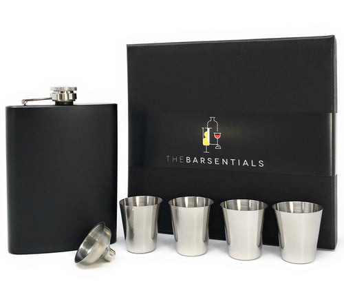 Hip Flask for Liquor Gift Set Stainless Steel 8oz with 4 Shot Glasses and Funnel from TheBarsentials (Matte Black)