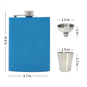Blue Flask Set with 4 Shot Cups and Funnel
