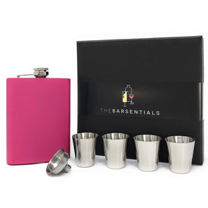 Matte Pink Flask Set with 4 Shot Cups and Funnel