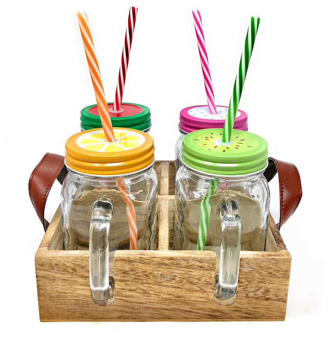 Clear Glass Pint Mason Jar Mugs with Handles, Colorful Lids, and Reusable Straws | 4 x 16oz Set of Old Fashioned Drinking Glasses in Wooden Tray – Great Christmas or Holiday Gift