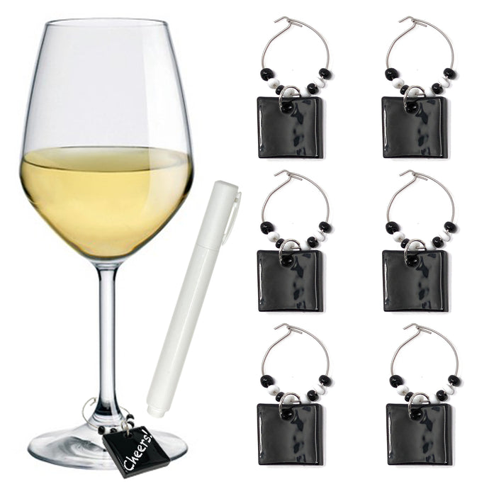 Wine Glass Charms Drink Identifier for Party - Personalize and Reuse with Glass Marker (Set of 6)