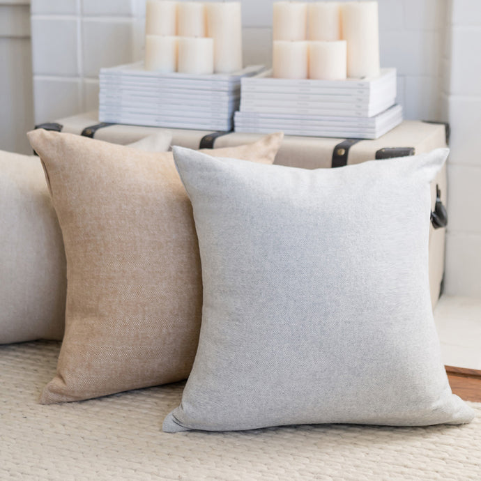 Solid Herringbone Pillow with Down Feather Insert