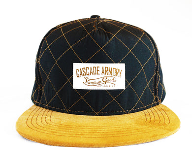 Skyliner Quilted Snapback Hat - Black and Gold