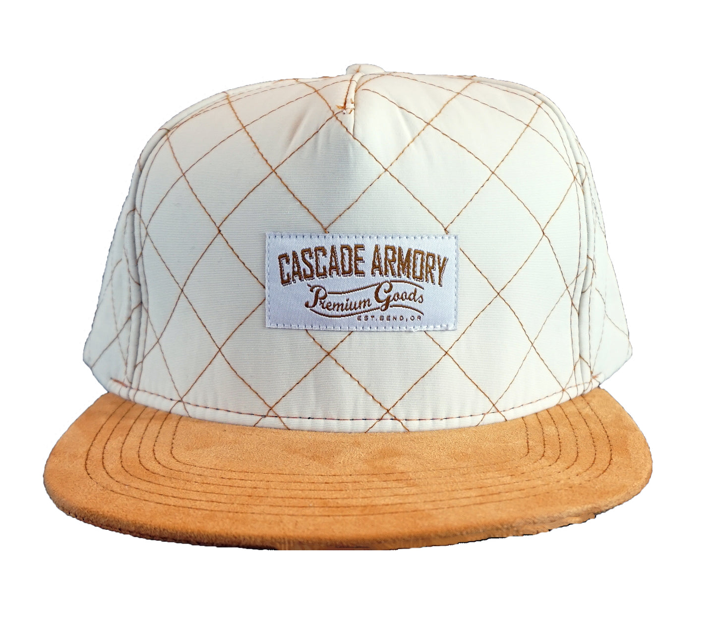 Skyliner Quilted Snapback Hat - Bone White and Gold