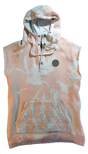 The Steamer sleeveless  Hoodie - Peach Party