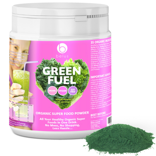Belus Green Fuel - Organic Super Food Powder - 35 Organic Super Foods In One Drink - With No Mess, No Shopping and Less Hassle - Plus FREE BONUS - The Ultimate 10 Day Detox