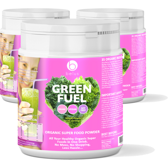 3 Pack - Belus Green Fuel - Organic Super Food Powder - 35 Organic Super Foods In One Drink - With No Mess, No Shopping and Less Hassle - Plus FREE BONUS - The Ultimate 10 Day Detox