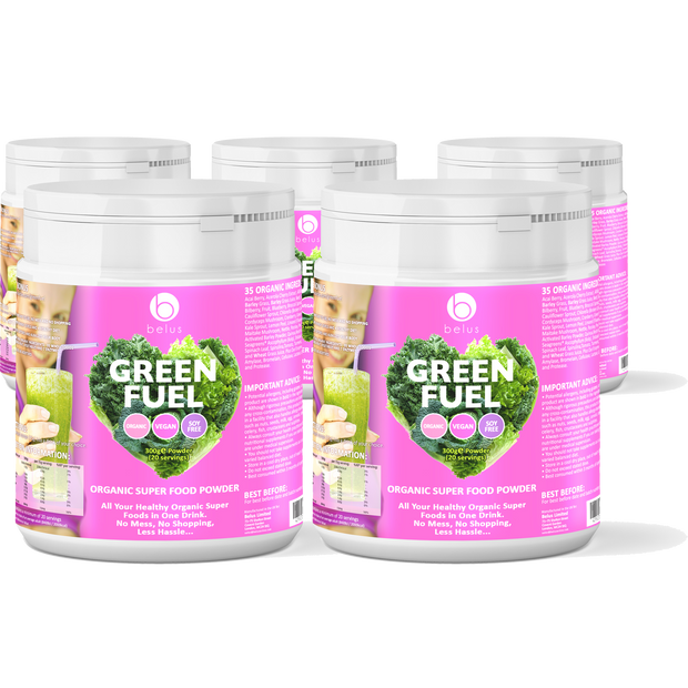 5 Pack - Belus Green Fuel - Organic Super Food Powder - 35 Organic Super Foods In One Drink - With No Mess, No Shopping and Less Hassle - Plus FREE BONUS - The Ultimate 10 Day Detox