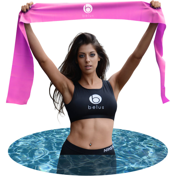 Belus Extra Long Exercise Bands - 2m Flat Resistance Bands. Includes Carry Bag, Video Download and Digital Guides. Versatile Home Fitness Equipment.