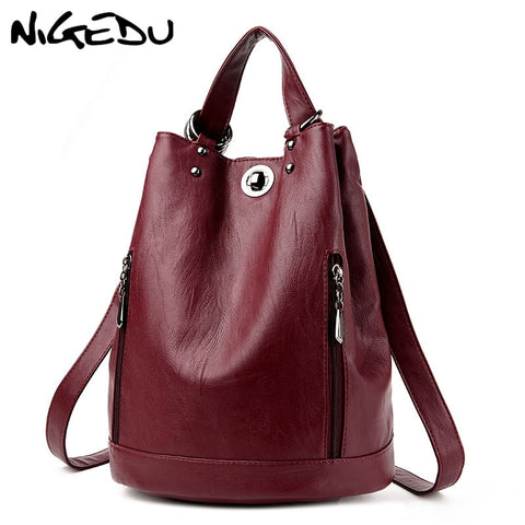 Women's  Backpack Leather Bucket Shoulder bag