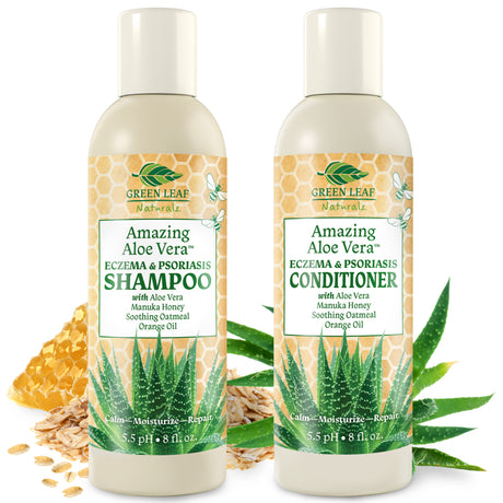 Amazing Aloe Vera Eczema Psoriasis Shampoo and Conditioner Set with Manuka Honey