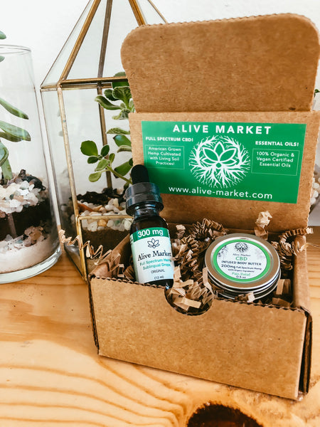 Alive Market Travel Bundle & Save Box  -300mg CBD Tincture & 200mg Body Butter