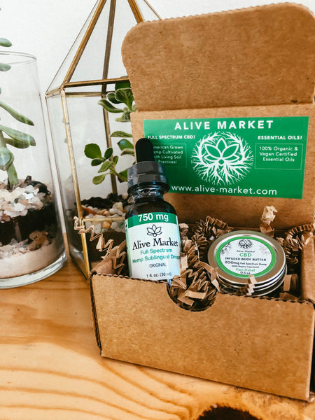 Alive Market Explore Bundle & Save Box - 750mg CBD Tincture & 200mg Body Butter