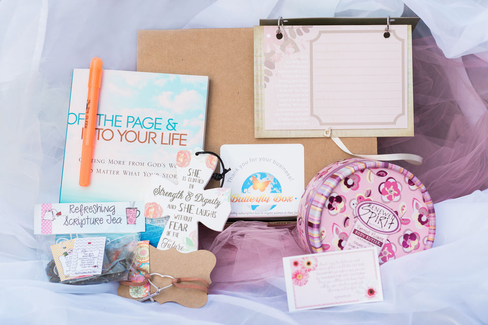 Our boxes our carefully curated with beautiful faith inspired products