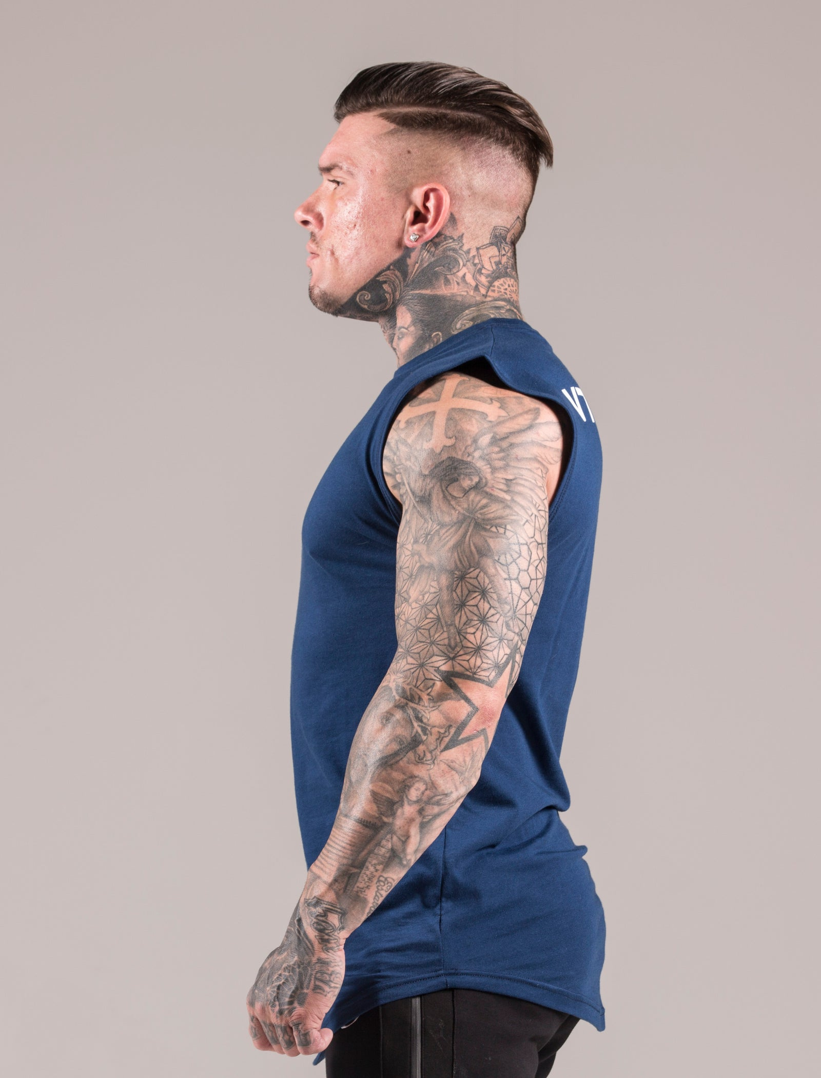 Blue Icon Sleeveless 'Cut Off' T-Shirt