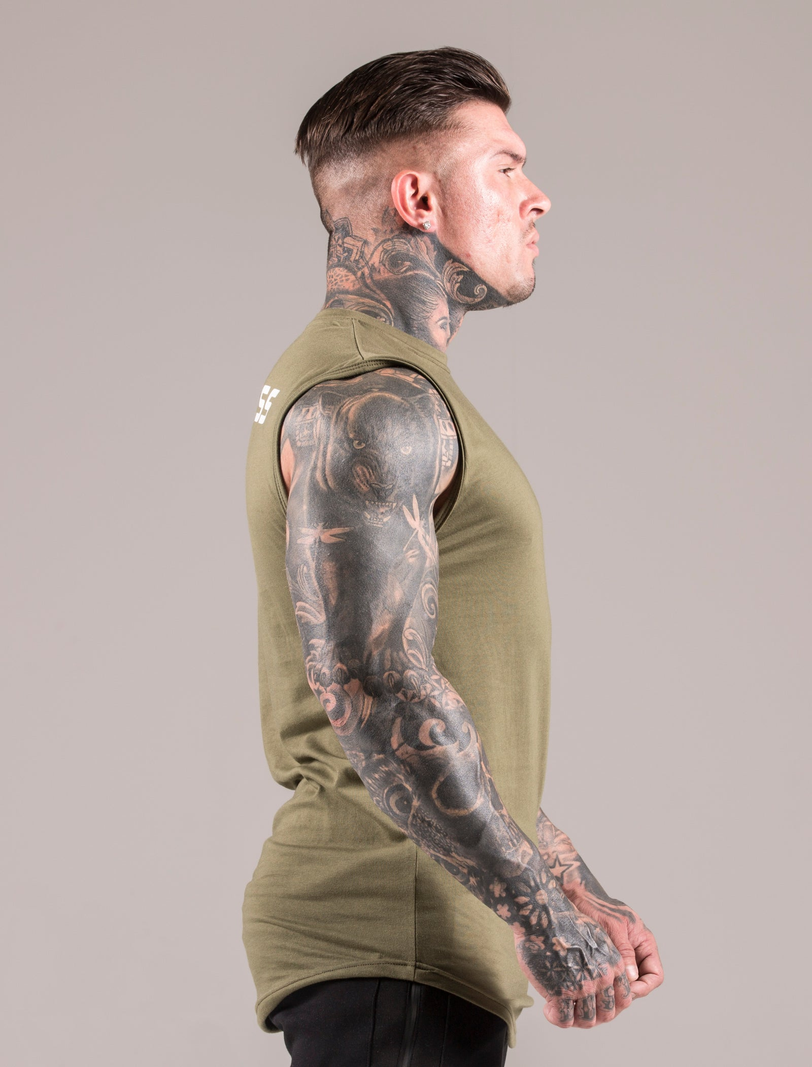 Khaki Icon Sleeveless 'Cut Off' T-Shirt