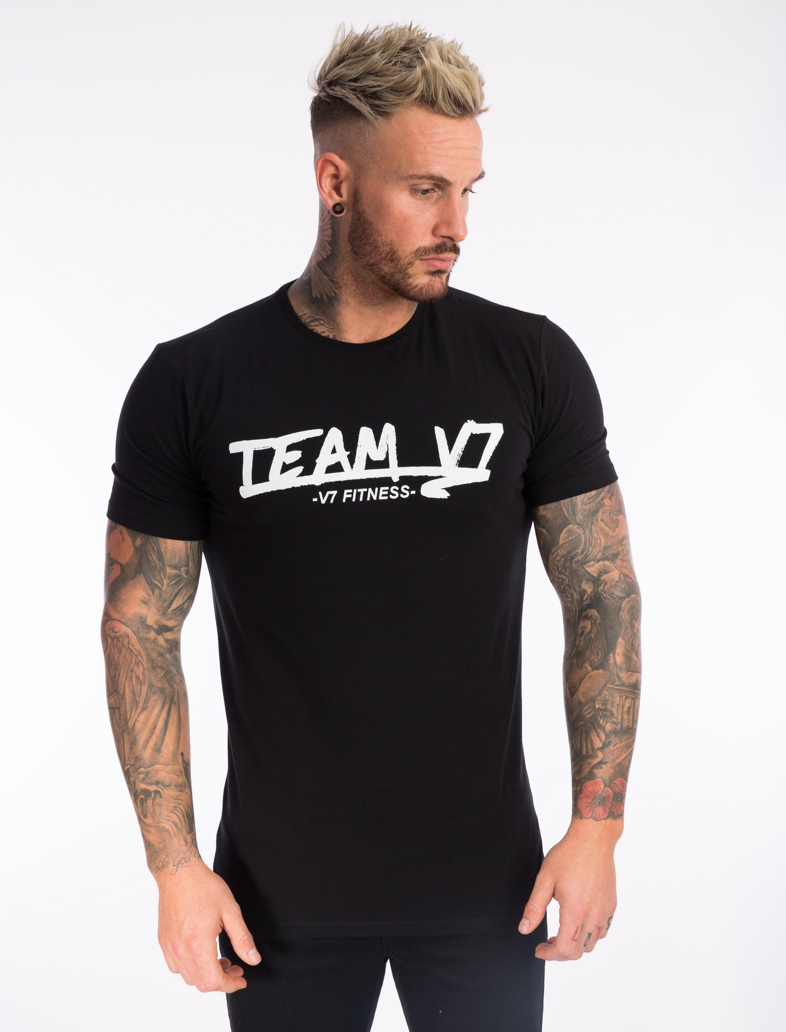 Jet Black 'TEAMV7' T-Shirt