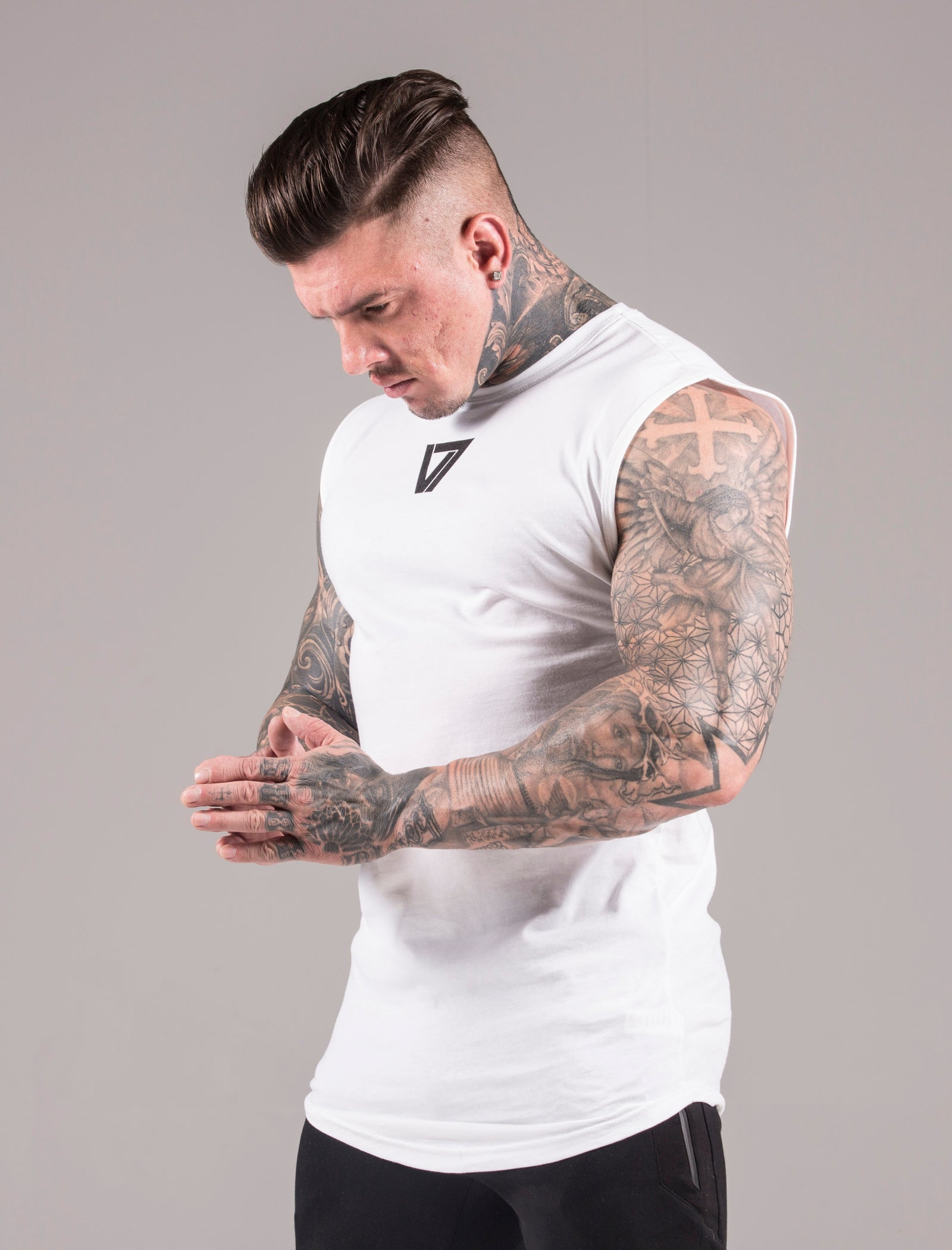 White Icon Sleeveless 'Cut Off' T-Shirt