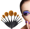 Image of 10 Piece Black Oval Brush Set
