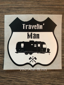 Travelin Man Die Cut Waterproof Sticker