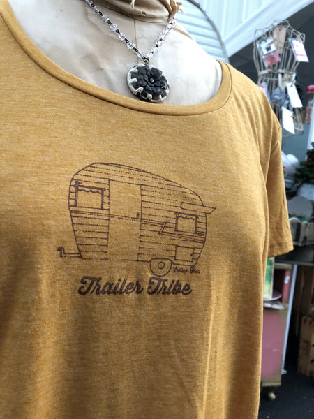 Trailer Tribe Festival Gold Scoopneck tee