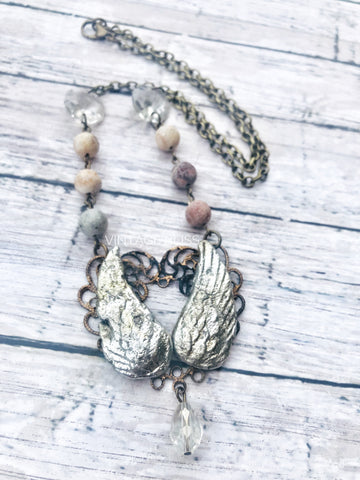 Melted Solder Wings on Heart Filigree Necklace