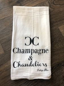 Champagne and Chandeliers Tea Towel