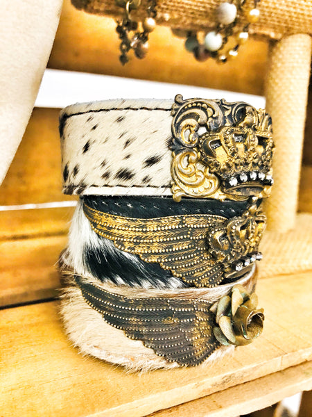 Cowhide Cuff Crown or Floral