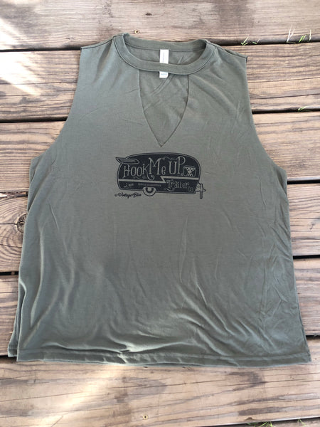 Hook Me Up Military Green Cut out Tank