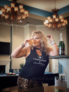 Champagne & Chandeliers Vneck Cut-Out Tank