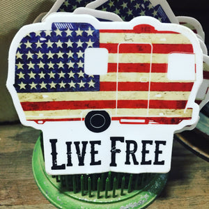Live Free Flag Vintage Trailer Die Cut Sticker