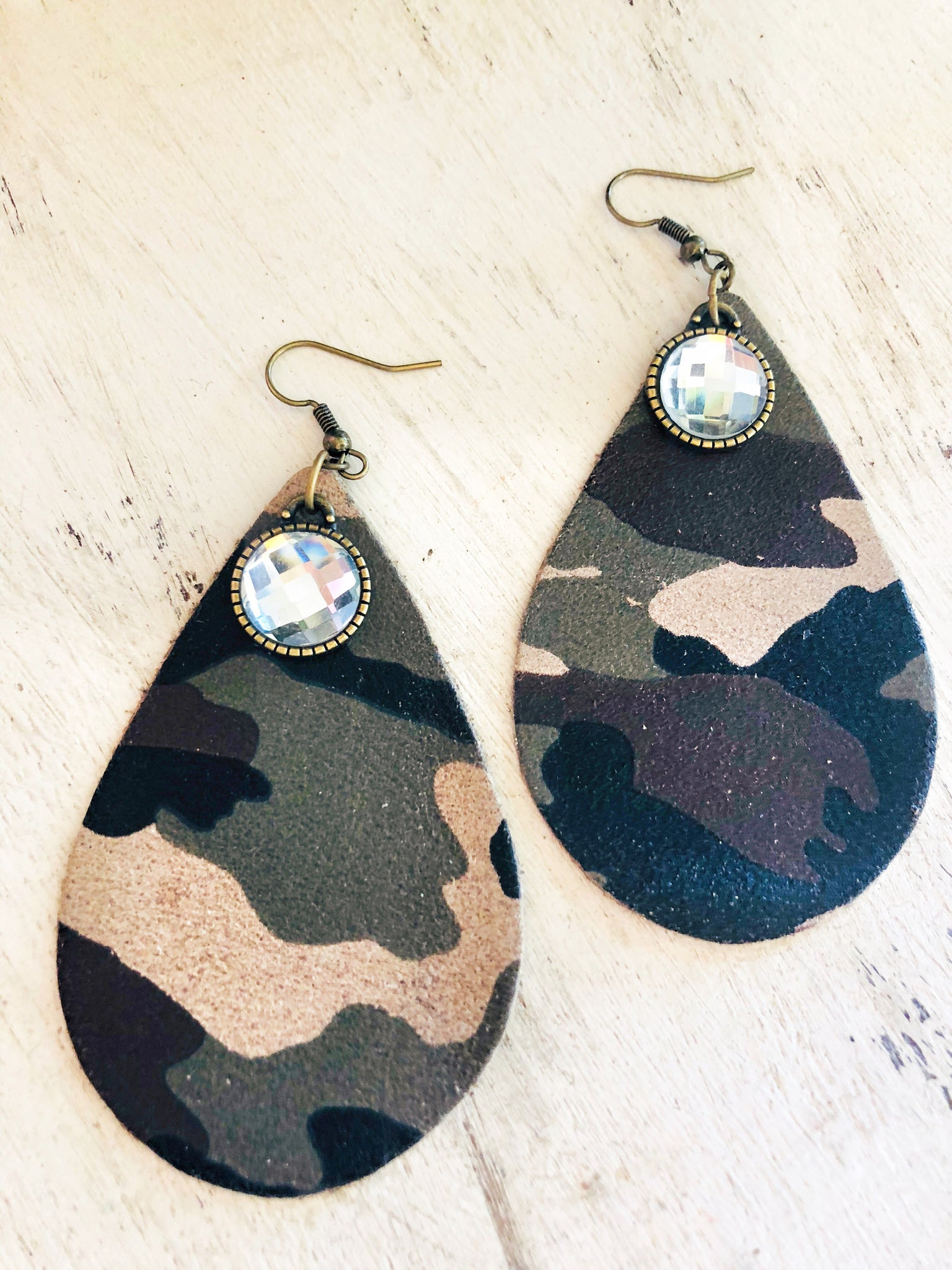 Leather Camo Drop Earrings