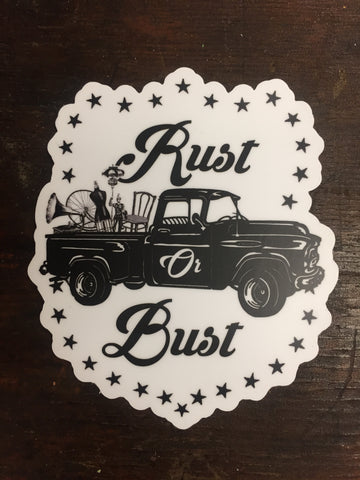 Rust or Bust Die Cut Sticker