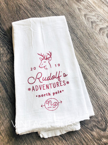 Rudolph's Adventures Christmas Towel