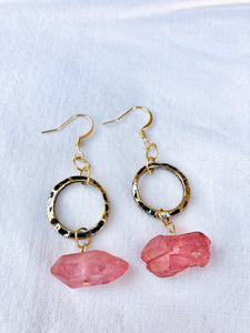 Pink Quartz Gold Loop Earrings