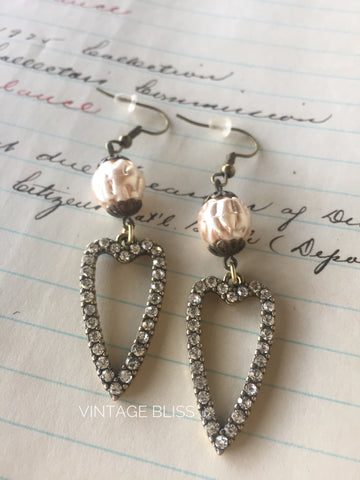 Rhinestone Heart Pearl Earrings