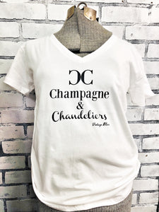 Champagne & Chandeliers White Vneck Tshirt