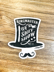 Ringmaster of the ShitShow Moustache Sticker