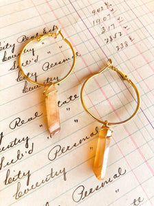 Amber Quartz Hoop Earrings