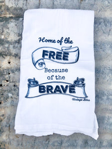 Home of the Free Because of the Brave Kitchen Towel