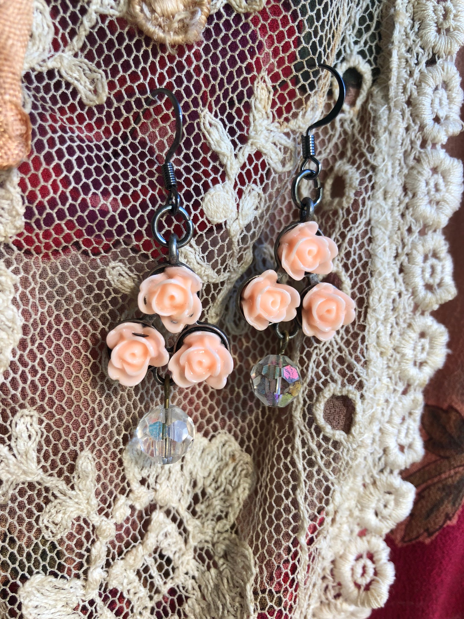 Peach Rose Cluster Earrings