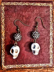 Skeleton Head Sparkle Earrings
