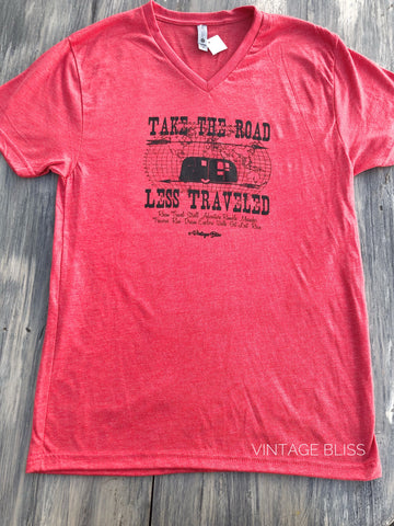 Take The Road Less Traveled Vintage Red T-shirt