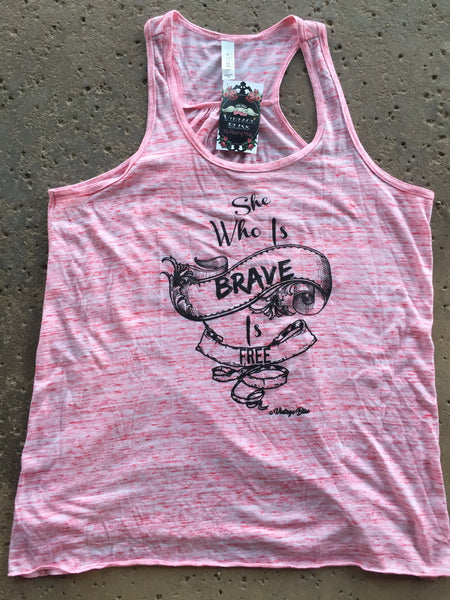 She Who Is Brave Is Free Red Marble Tank