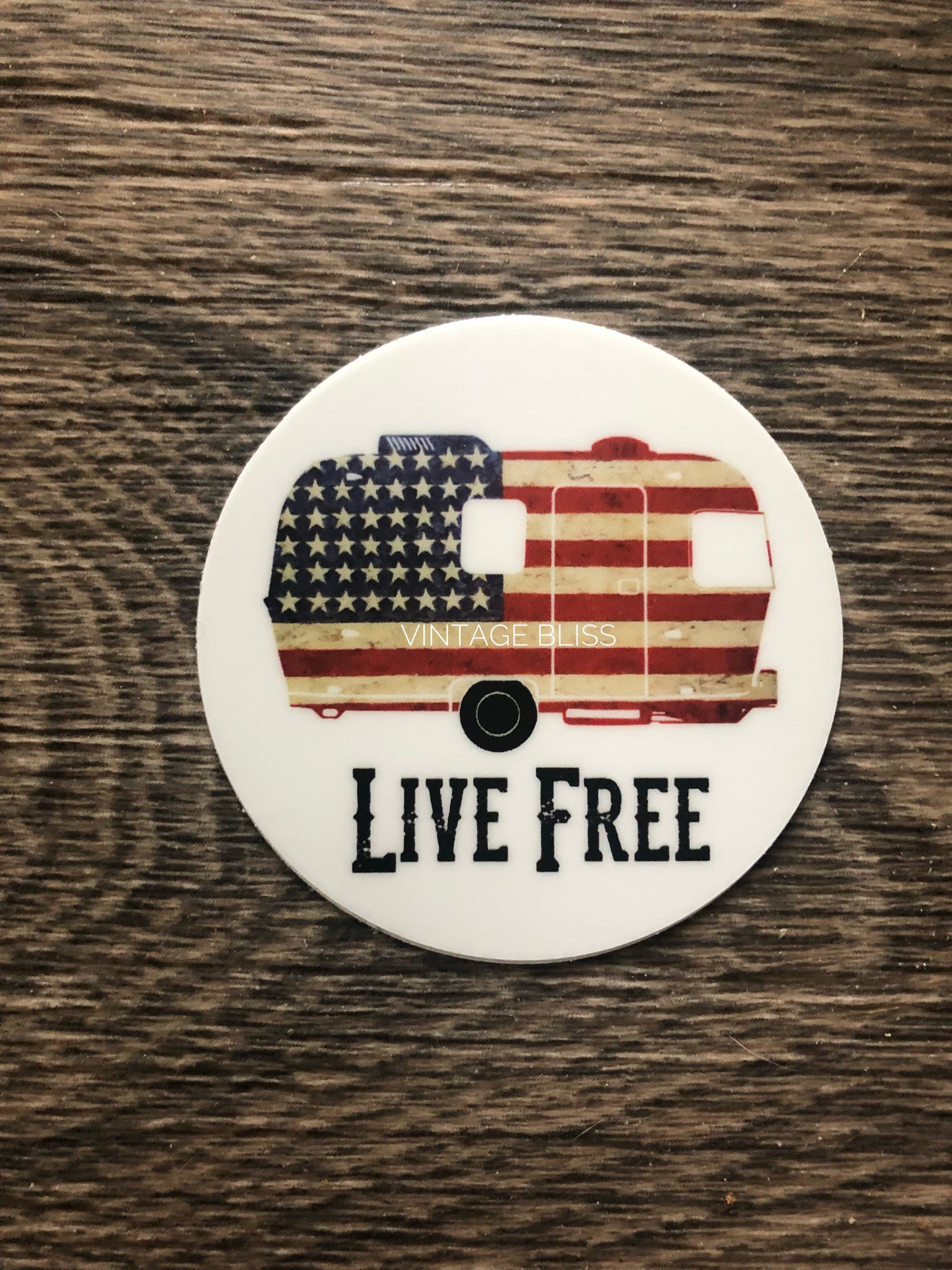 "Live Free 2"" Round Waterproof Sticker"