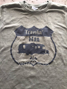 Men's Travelin' Man Military Green Crew Neck T-Shirt