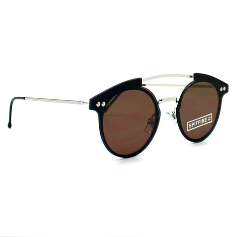 Spitfire Trip Hop Flat Lens Sunglasses in Silver/Brown