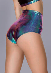 Holographic High Waisted Shorts in Black Opal