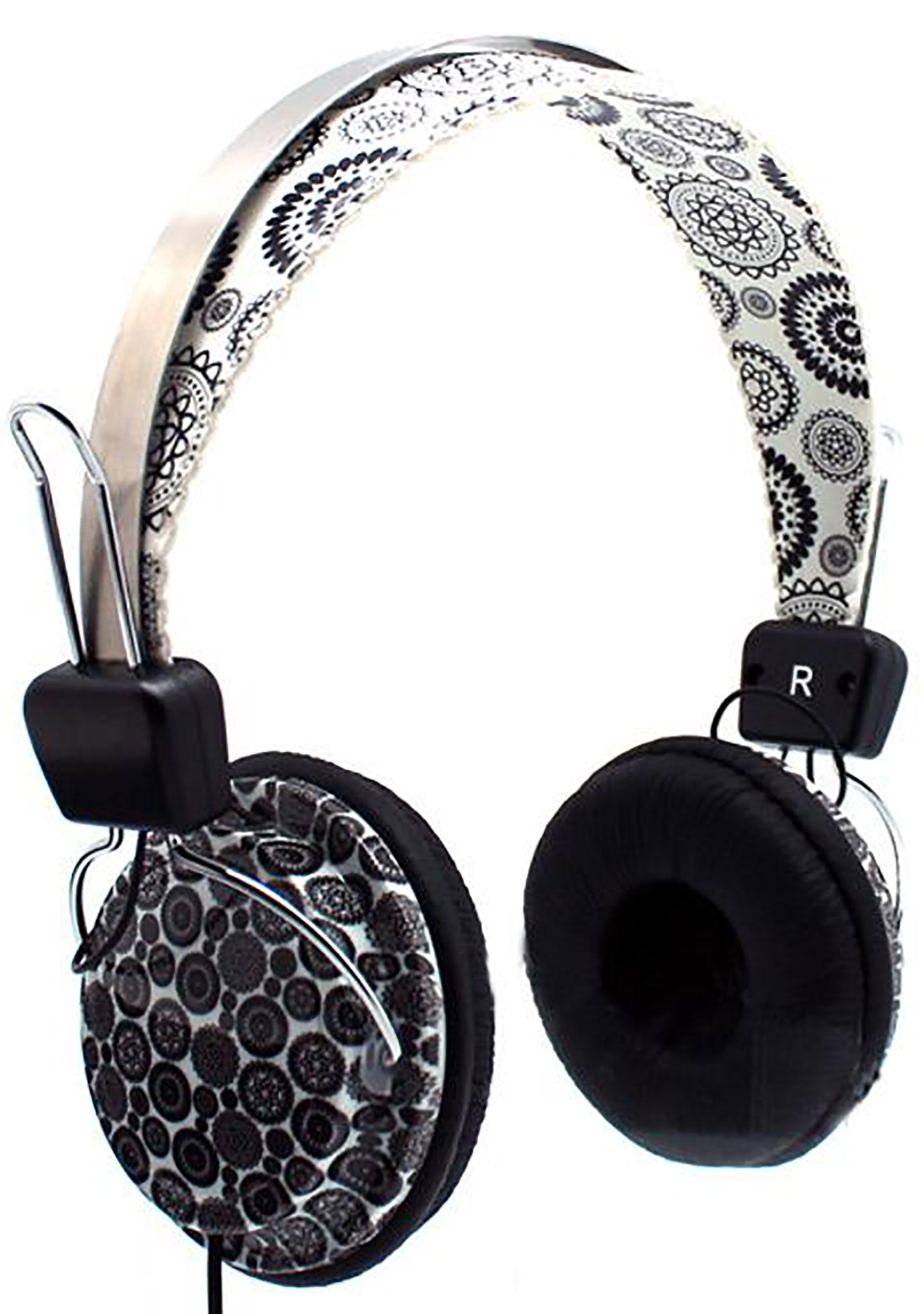 Black Paisley Stereo Headphones