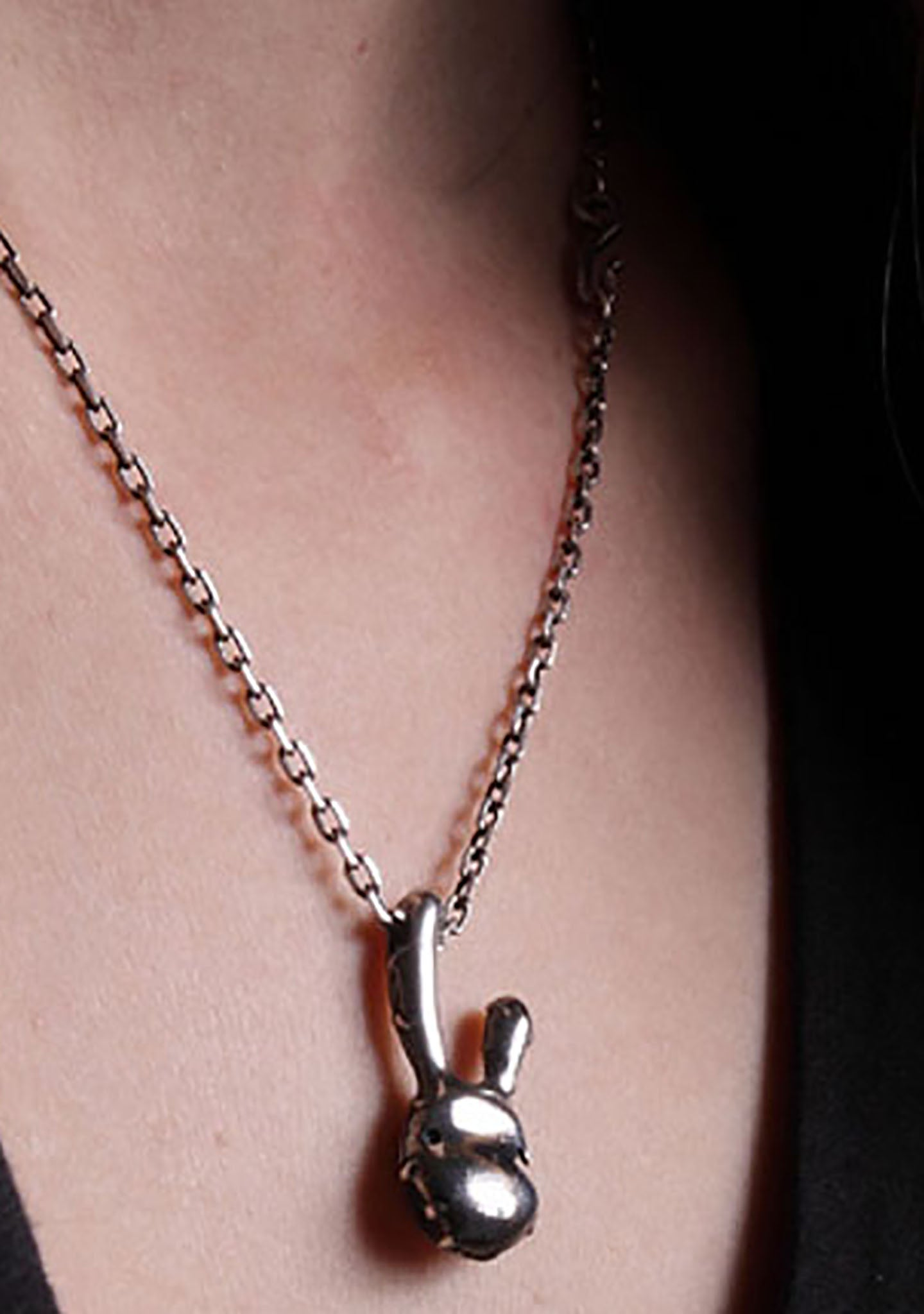 2 Abnormal Sides Two Face Rabbit Necklace
